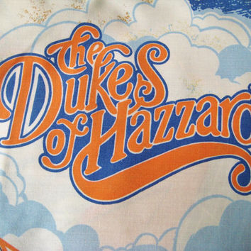 RARE Vintage The Dukes of Hazzard FULL Size Bed Set Flat & Fitted Sheets 2 Pillowcases Good Ol' Boys Kids Bedding Fabric Used Clean HTF 1982