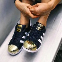 Adidas Women Men Fashion Casual Superstar Metal Toe Shoes Sneakers Black G