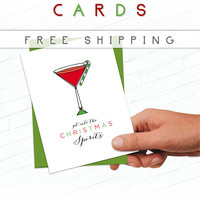 Fun Christmas Card, Unique Christmas Card Alcohol, Martini Christmas, Booze Funny Drinking Holiday Card, Holiday Greeting Cards, Liquor