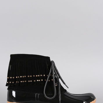 Studded Fringe Cuff Lace Up Duck Ankle Boots