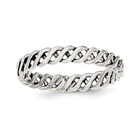 Sterling Silver Polished Weaved 3.5mm Women's Ring
