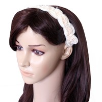 Banded No Slip Headband, Floral Dream Cream Enchantment, 1.5 in wide