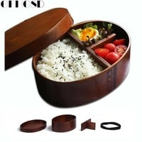 GFHGSD Wooden Lunch Box Handmade Rice Bowl Lunchbox Eco-friendly Bento Lunch Boxes Wood Sushi Box Container Food Container