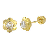 Mini CZ Flower Stud Earrings 10k Yellow Gold with Screwbacks 4mm