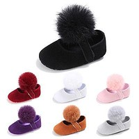 First Walkers Cute Hair Ball Baby Girls Shoes Infant Toddler Soft Crib Shoes born-18 M