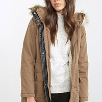 FOREVER 21 Faux Shearling Parka Olive