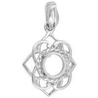 Gemsavvy Sentiments(Tm) Rhodium Plated Sterling Silver 8mm Round Cabochon 4-prong Pendant Casting