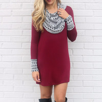 Desert Craze Burgundy Tribal Cowl Neck Dress