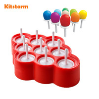 New Silicone Mini Ice Pops Mold Ice Cream Ball Lolly Maker Popsicle Molds With 9 Stickers