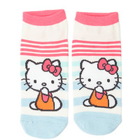 FOREVER 21 Striped Hello Kitty Socks Pink/Light Blue One