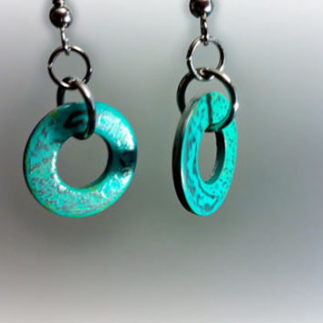 Turquoise Earrings, Silver Earrings, Turquoise Patina Silver Circle Washer Earrings, Bohemian, Rustic, Simple Earrings ELEMENTS Collection