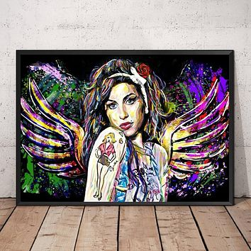 MT2544 Amy Winehouse Music Star Collection Poster Painting Art Poster Print Canvas Home Decor Picture Wall Print|Painting & Calligraphy