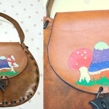 Vintage Hippie Painted Ethnic Folk Festival Satchel Bag Mushroom leather Saddle Bag S M 70s 60s fairy psychedelic woodstock