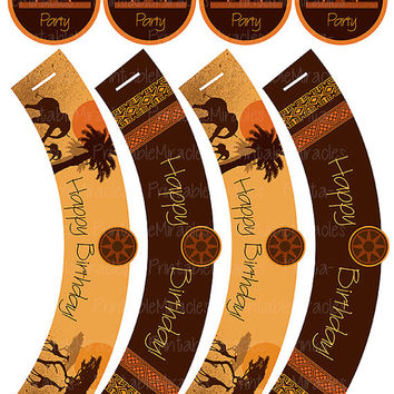 Safari birthday party kit printable African theme Cupcake toppers Wrappers Invitation Banner Bottle labels Package Orange Brown