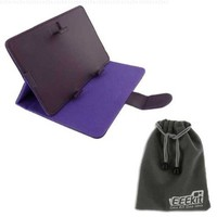 EEEKit 2 in 1 Accessories Bundle for HKC LC07740 Touchscreen Tablet, 7 inch Universal Stand Case Cover + EEEKit Protective Storage Pouch Gray for Free (Purple)