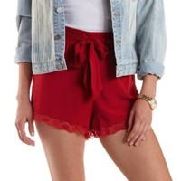 Red Lace-Trim High-Waisted Shorts by Charlotte Russe