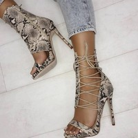 Gladiators Peep Toe Laced Shoe