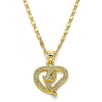 Gold Layered 04.156.0063.18 Fancy Necklace, Heart Design, with White Micro Pave, Polished Finish, Gold Tone