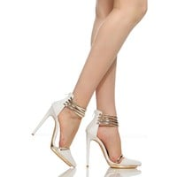 White Faux Leather Gold Accent Pointed Toe Heels @ Cicihot Heel Shoes online store sales:Stiletto Heel Shoes,High Heel Pumps,Womens High Heel Shoes,Prom Shoes,Summer Shoes,Spring Shoes,Spool Heel,Womens Dress Shoes