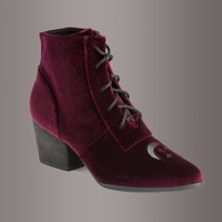YRU Aura Witchy Burgundy Velvet Ankle Boot