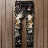 Embroidery Denim Pants Fashion Ripped Holes Vintage Jeans [1922679472221]