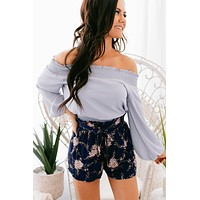 Living For This Off The Shoulder Top (Lilac Grey)