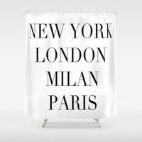 Shower Curtain - Fashion Shower Curtain - Fashion Decor - New York - London - Milan - Paris - Shower Curtain - Black and White - Typography