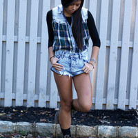 Who Cares Denim Cut Off Flannel