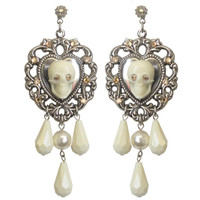 "SKULL POETRY ""LA BELLE"" PENDANT EARRINGS - TARINA TARANTINO"