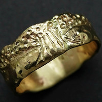 gold tree of life ring yellow gold, viking wedding band gold engagement ring molten gold, cool mens wedding ring gold, celtic gold ring