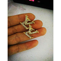 LV tide brand diamond female letter earrings gold