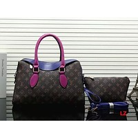 Louis Vuitton Women Leather Tote Clutch Bag Handbag Shoulder Bag Set Two-Piece