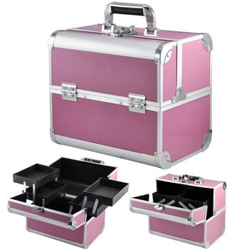 Extra Pro Beauty Box Make Up Rose Vanity Case Cosmetic Nail Jewelry Case (Color: Pink) = 1697508740