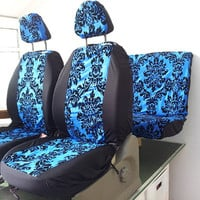Set of car seat covers; front and rear covers: Blue damask flower print english
