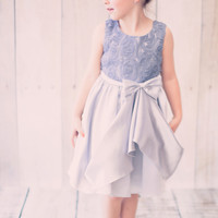 Silver Satin & Mesh Floral Ribbons Girls Dress with Gathered Front Skirt (Girls 2T - Size 14)