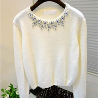 Rhinestone Beaded Neckline Long Sleeve Knitted Top