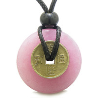 Lucky Coin Evil Eye Powers Amulet Dyed Pink Quartz 30mm Donut Pendant Necklace