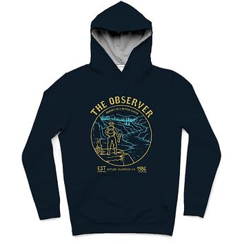 The Observer Trendy All-Over Print Solid Tangaroa Hoodie