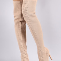 Stretch Pierced Knit Stiletto Over-The-Knee boots