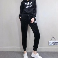 """""""Adidas"""" Women Casual Fashion Double-faced Velvet Letter Long Sleeve Hooded Sweater Trousers Set Two-Piece Sportswear"""