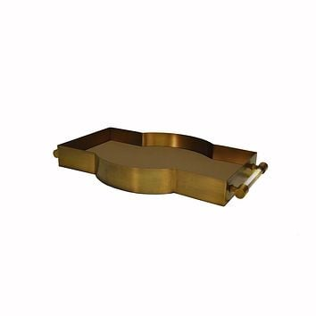 Florence Antique Brass Tray with Shagreen Inset