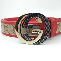 GUCCI retro simple wild interlocking double G buckle belt