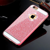 Pink Shinning Rhinestone Bling Bling Apple Logo Window Luxury Phone Back Cover Case for iPhone 4 4s 5 5s 6 6s 6 Plus 6s Plus