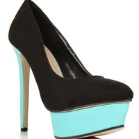 Black/Mint Two-Tone Suede Patent Heels
