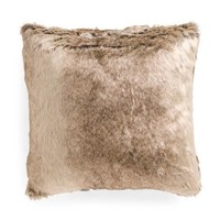 Brown Faux Fur Feather Fill Throw Pillow