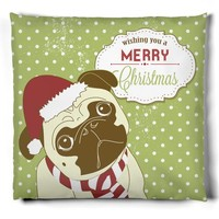KRW Cute Pug Merry Christmas Pillow