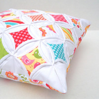 Decorative Pillow Cover Cathedral Window Red Pink Green Aqua Yellow Hello Sunshine 18 Inch
