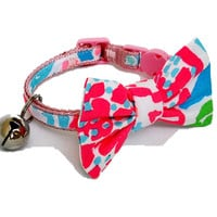 Cat Collar with Removable Bow Made from Lilly Pulitzer FLUORESCENT Lets Cha Cha Fabric (Breakaway Buckle)