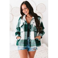 River Oversized Plaid Flannel Jacket (Green)