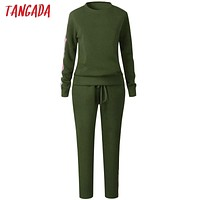 Tangada ladies tracksuits women 2 piece set clothing set matching female suit two piece sport suit sportwear sweat suits aon61